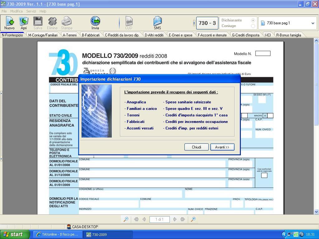 schermata dell'importazione dati