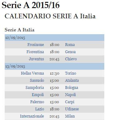 calendario serie A