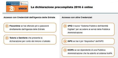 accesso precompilato 2016