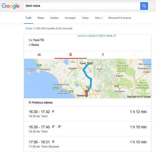 google ricerca orario dei treni