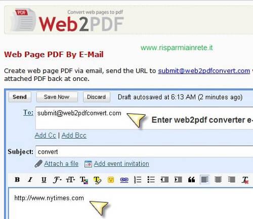 navigare il web via email