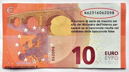 il numero seriale su 10 euro