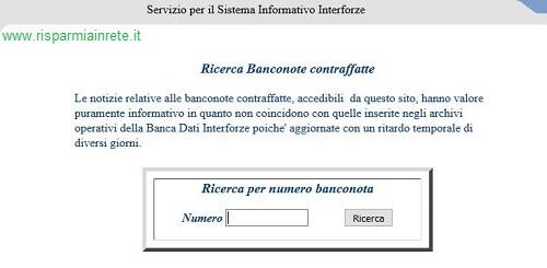 ricerca banconota falsa sul sito del Ministero dell' Interno