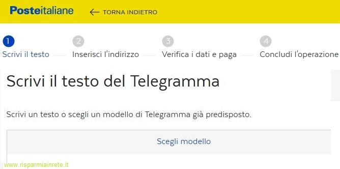scrivi il testo del telegramma