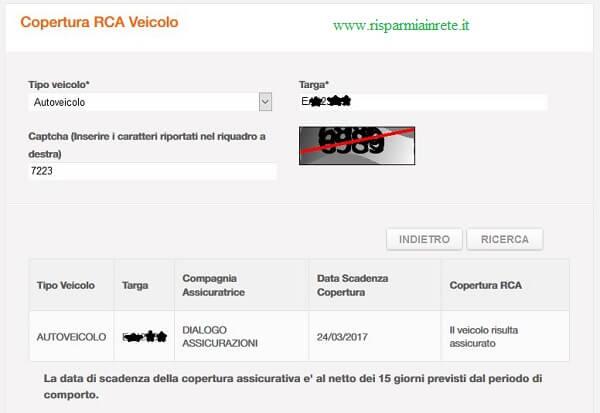 verifica copertura RCA veicolo