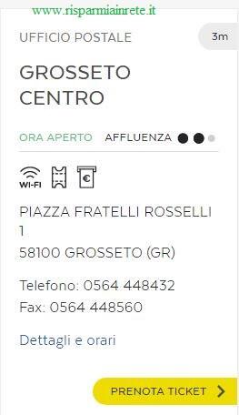 prenota ticket di poste Italiane