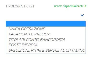 tipologia ticket Poste Italiane