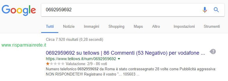 scopri se il numero di telefono è di un call center
