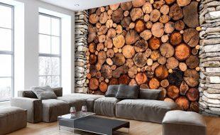 carta da parati effetto legna
