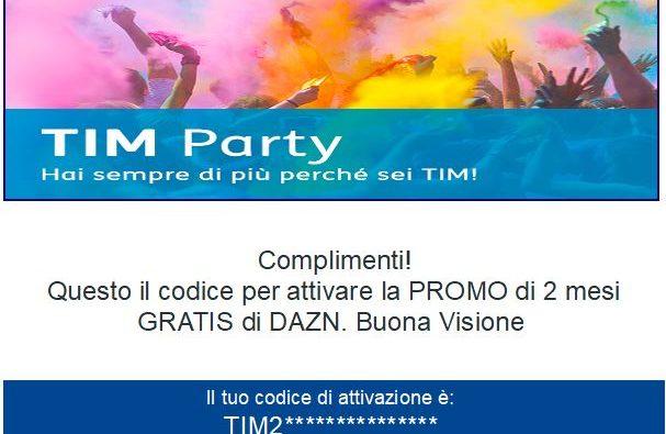 DAZN 2 mesi con TIM Party